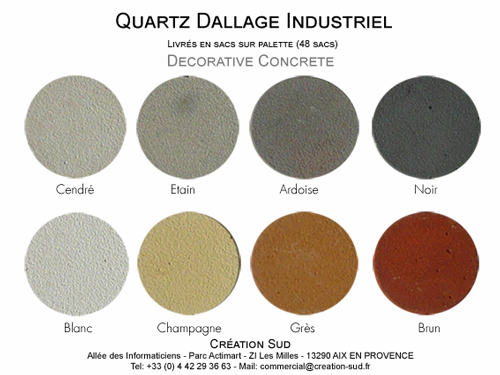 Couleurs dallage industriel
